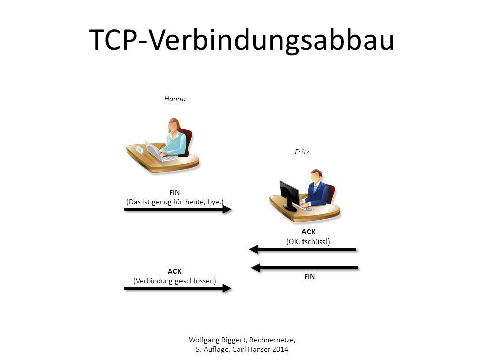 Wolfgang Riggert, Rechnernetze, 5. Auflage, Carl Hanser 2014 TCP-Verbindungsabbau FIN (Das ist genug für heute, bye.) ACK (OK, tschüss!) ACK (Verbindu