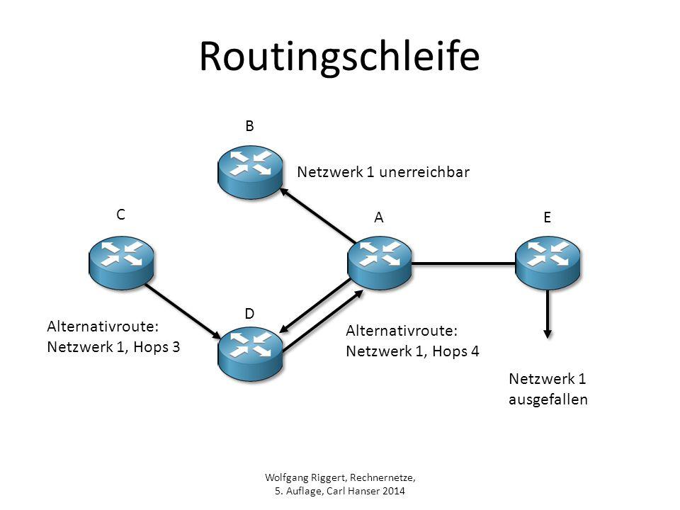 Wolfgang Riggert, Rechnernetze, 5. Auflage, Carl Hanser 2014 Routingschleife Netzwerk 1 unerreichbar Alternativroute: Netzwerk 1, Hops 4 Netzwerk 1 au