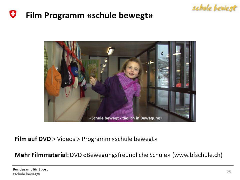 Bundesamt für Sport «schule bewegt» 25 Film Programm «schule bewegt» Film auf DVD > Videos > Programm «schule bewegt» Mehr Filmmaterial: DVD «Bewegungsfreundliche Schule» (www.bfschule.ch)
