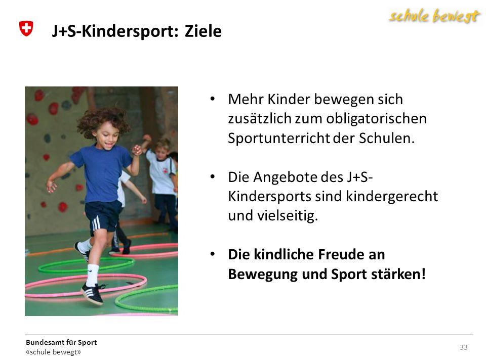 Bundesamt für Sport «schule bewegt» Mehr Kinder bewegen sich zusätzlich zum obligatorischen Sportunterricht der Schulen.
