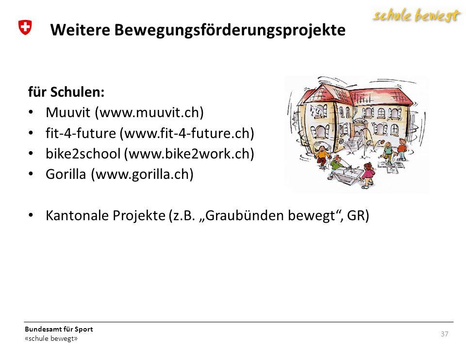 Bundesamt für Sport «schule bewegt» 37 Weitere Bewegungsförderungsprojekte für Schulen: Muuvit (www.muuvit.ch) fit-4-future (www.fit-4-future.ch) bike2school (www.bike2work.ch) Gorilla (www.gorilla.ch) Kantonale Projekte (z.B.