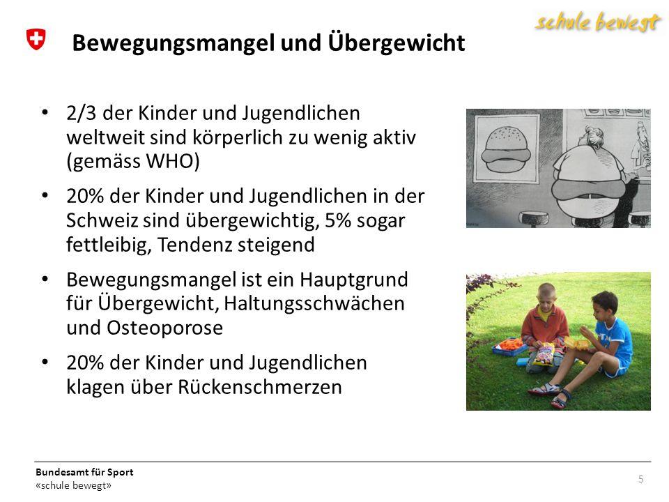 Bundesamt für Sport «schule bewegt» 2/3 der Kinder und Jugendlichen weltweit sind körperlich zu wenig aktiv (gemäss WHO) 20% der Kinder und Jugendlichen in der Schweiz sind übergewichtig, 5% sogar fettleibig, Tendenz steigend Bewegungsmangel ist ein Hauptgrund für Übergewicht, Haltungsschwächen und Osteoporose 20% der Kinder und Jugendlichen klagen über Rückenschmerzen 5 Bewegungsmangel und Übergewicht