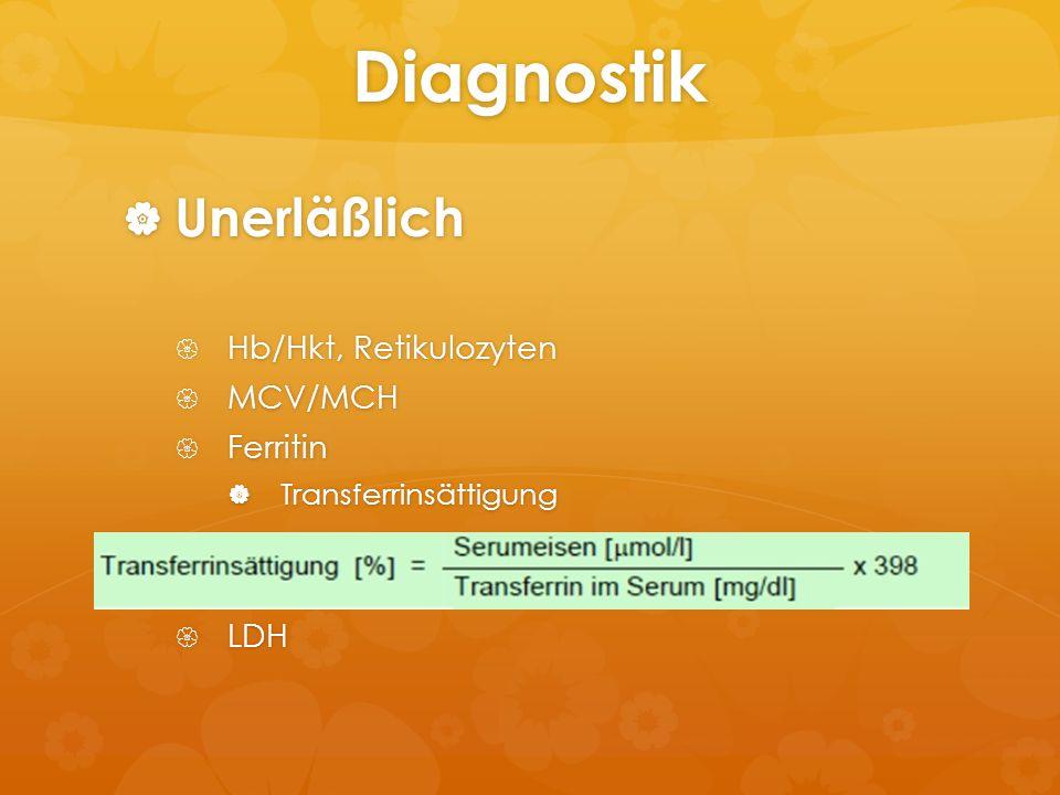 Diagnostik  Unerläßlich  Hb/Hkt, Retikulozyten  MCV/MCH  Ferritin  Transferrinsättigung  LDH