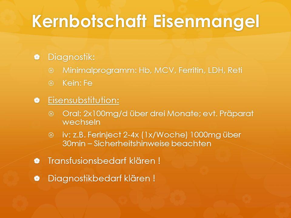 Kernbotschaft Eisenmangel  Diagnostik:  Minimalprogramm: Hb, MCV, Ferritin, LDH, Reti  Kein: Fe  Eisensubstitution:  Oral: 2x100mg/d über drei Mo