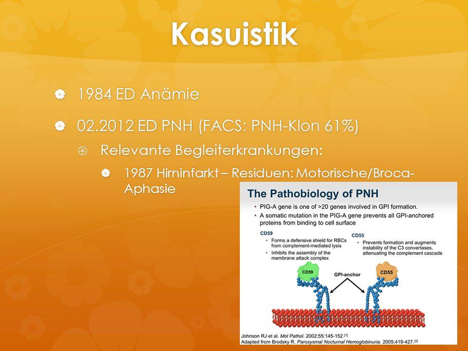 Kasuistik  1984 ED Anämie  02.2012 ED PNH (FACS: PNH-Klon 61%)  Relevante Begleiterkrankungen:  1987 Hirninfarkt – Residuen: Motorische/Broca- Aph