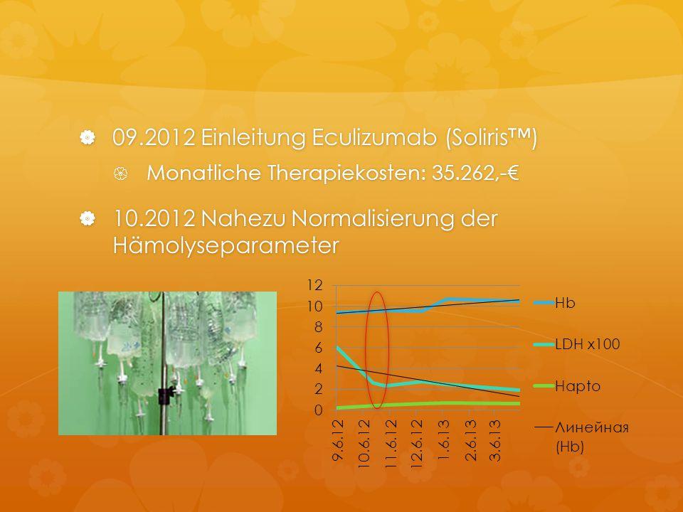  09.2012 Einleitung Eculizumab (Soliris™)  Monatliche Therapiekosten: 35.262,-€  10.2012 Nahezu Normalisierung der Hämolyseparameter
