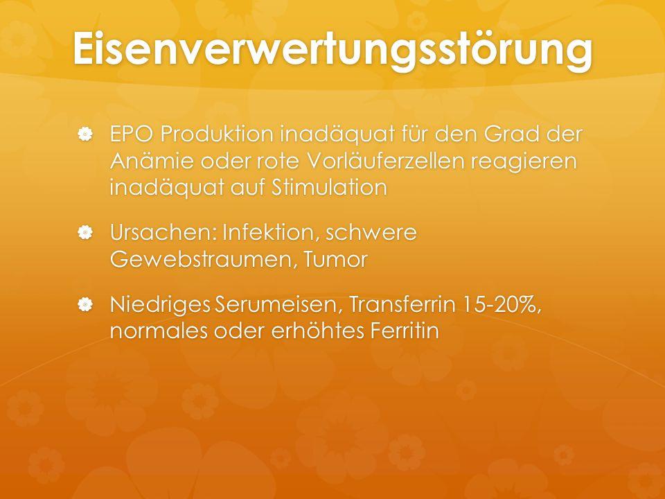 Eisenverwertungsstörung  EPO Produktion inadäquat für den Grad der Anämie oder rote Vorläuferzellen reagieren inadäquat auf Stimulation  Ursachen: I