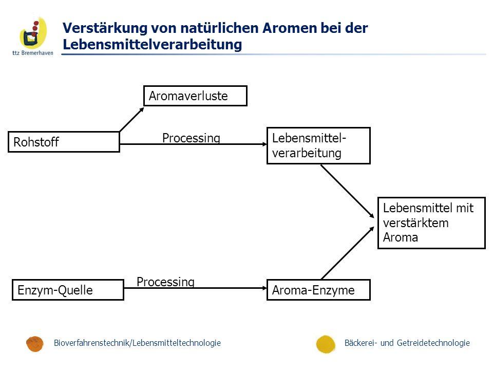 Bäckerei- und GetreidetechnologieBioverfahrenstechnik/Lebensmitteltechnologie Verstärkung von natürlichen Aromen bei der Lebensmittelverarbeitung Arom