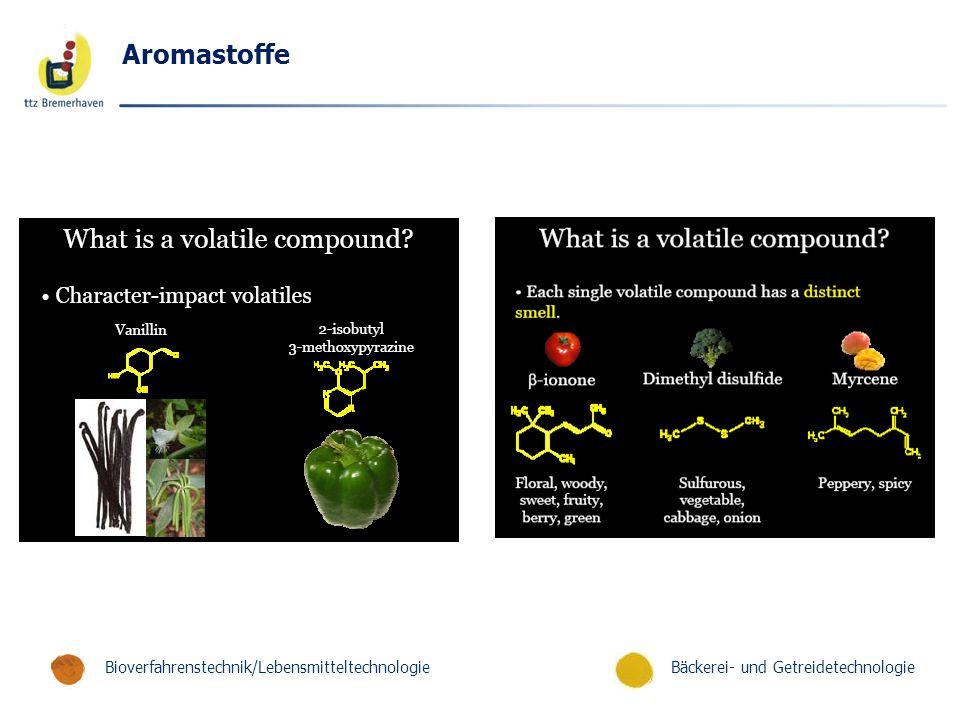 Bäckerei- und GetreidetechnologieBioverfahrenstechnik/Lebensmitteltechnologie Aromastoffe