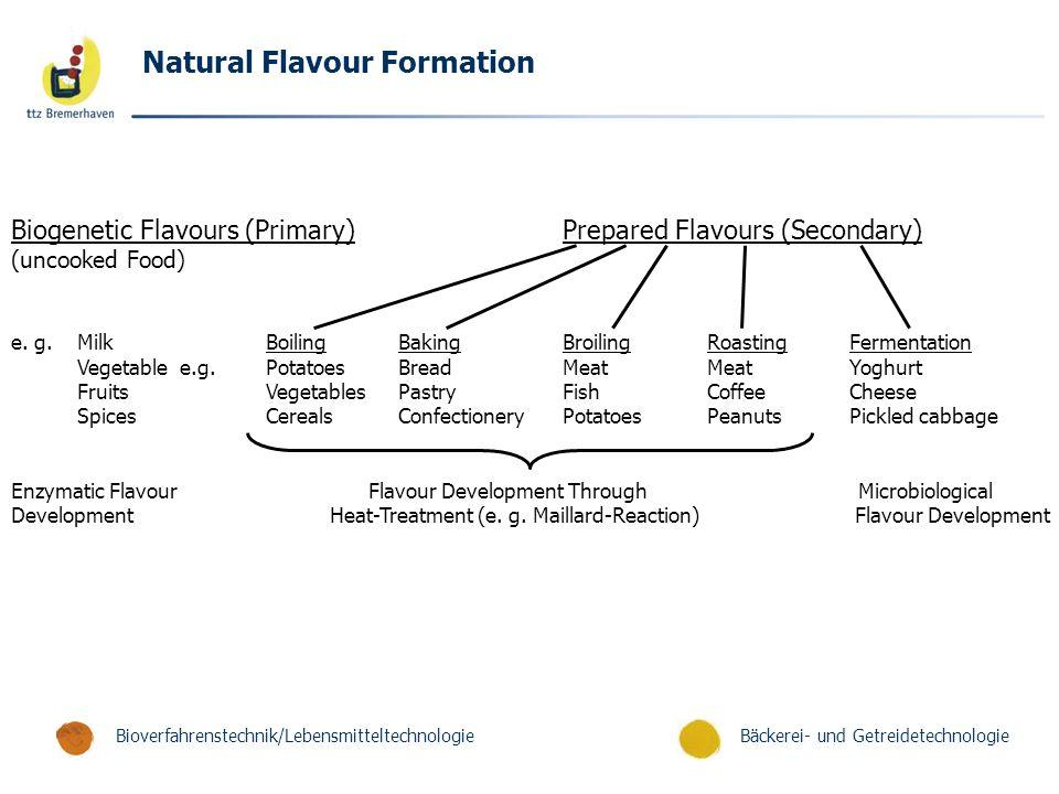 Bäckerei- und GetreidetechnologieBioverfahrenstechnik/Lebensmitteltechnologie Natural Flavour Formation Biogenetic Flavours (Primary)Prepared Flavours (Secondary) (uncooked Food) e.