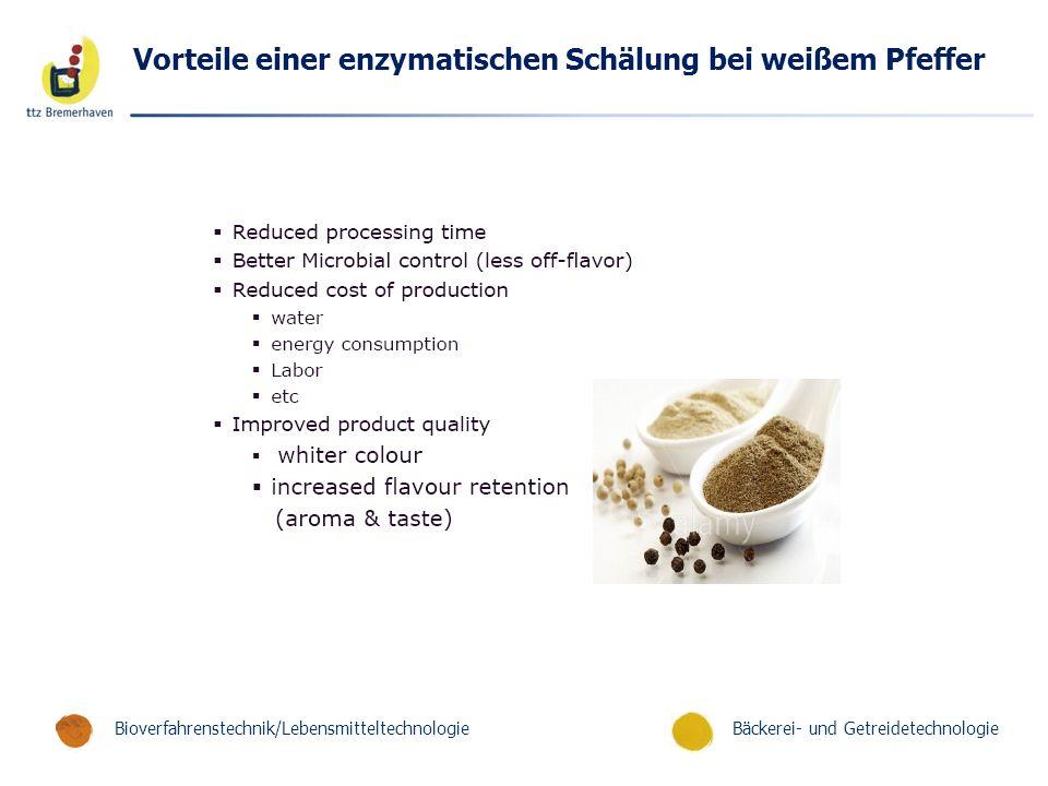 Bäckerei- und GetreidetechnologieBioverfahrenstechnik/Lebensmitteltechnologie Vorteile einer enzymatischen Schälung bei weißem Pfeffer