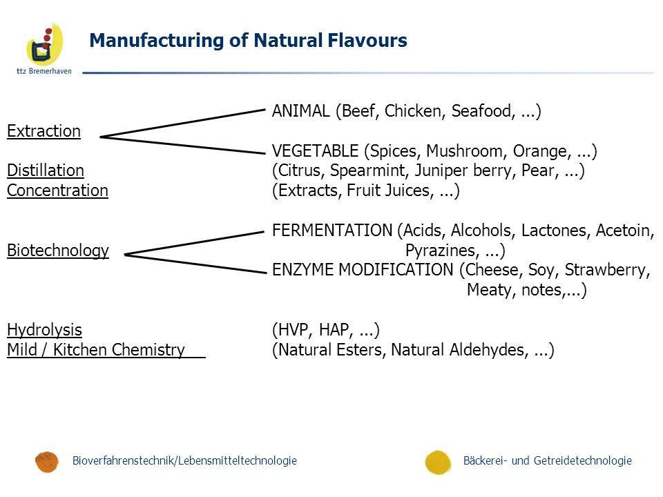 Bäckerei- und GetreidetechnologieBioverfahrenstechnik/Lebensmitteltechnologie Manufacturing of Natural Flavours ANIMAL (Beef, Chicken, Seafood,...) Ex