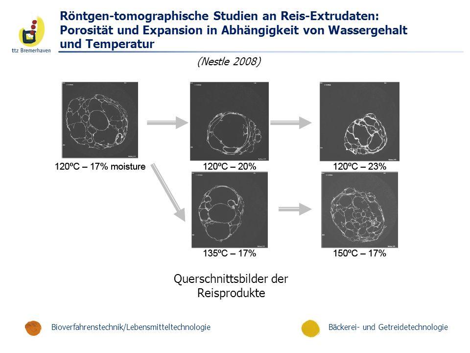 Bäckerei- und GetreidetechnologieBioverfahrenstechnik/Lebensmitteltechnologie Röntgen-tomographische Studien an Reis-Extrudaten: Porosität und Expansi