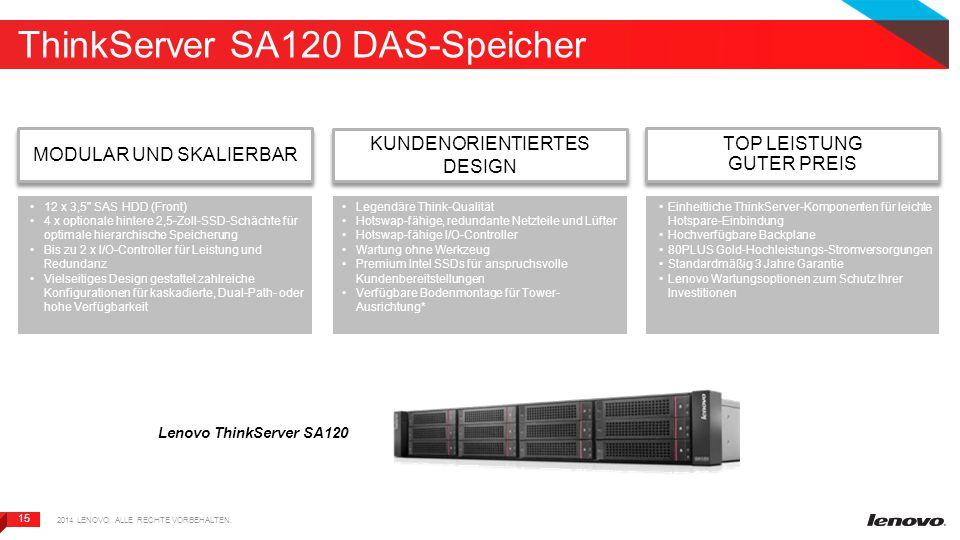 15 ThinkServer SA120 DAS-Speicher Lenovo ThinkServer SA120 MODULAR UND SKALIERBAR 2014 LENOVO.