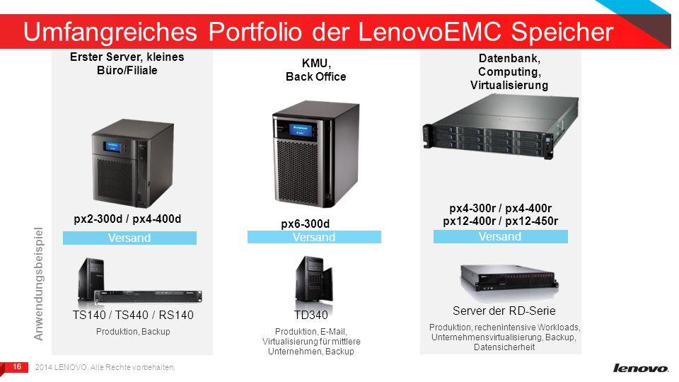 16 Umfangreiches Portfolio der LenovoEMC Speicher px6-300d px2-300d / px4-400d Versand Erster Server, kleines Büro/Filiale KMU, Back Office Datenbank, Computing, Virtualisierung Versand px4-300r / px4-400r px12-400r / px12-450r Versand TS140 / TS440 / RS140 Produktion, Backup TD340 Produktion, E-Mail, Virtualisierung für mittlere Unternehmen, Backup Server der RD-Serie Produktion, rechenintensive Workloads, Unternehmensvirtualisierung, Backup, Datensicherheit Anwendungsbeispiel 2014 LENOVO.