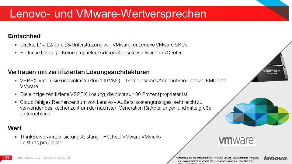 23 Lenovo- und VMware-Wertversprechen Einfachheit  Direkte L1-, L2- und L3-Unterstützung von VMware für Lenovo VMware SKUs  Einfache Lösung – Keine proprietäre Add-on-Konsolensoftware für vCenter Vertrauen mit zertifizierten Lösungsarchitekturen  VSPEX-Virtualisierungsinfrastruktur (100 VMs) – Gemeinsames Angebot von Lenovo, EMC und VMware  Die einzige zertifizierte VSPEX-Lösung, die nicht zu 100 Prozent proprietär ist  Cloud-fähiges Rechenzentrum von Lenovo – Äußerst kostengünstiges, sehr leicht zu verwendendes Rechenzentrum der nächsten Generation für Abteilungen und mittelgroße Unternehmen Wert  ThinkServer-Virtualisierungsleistung – Höchste VMware VMmark- Leistung pro Dollar *Basierend auf durchschnittlichem Preis für Lösung, automatisierte Vorgänge und kosteneffektive Analysen durch vCenter Operations Manager mit ThinkServer EasyManage 2014 LENOVO.