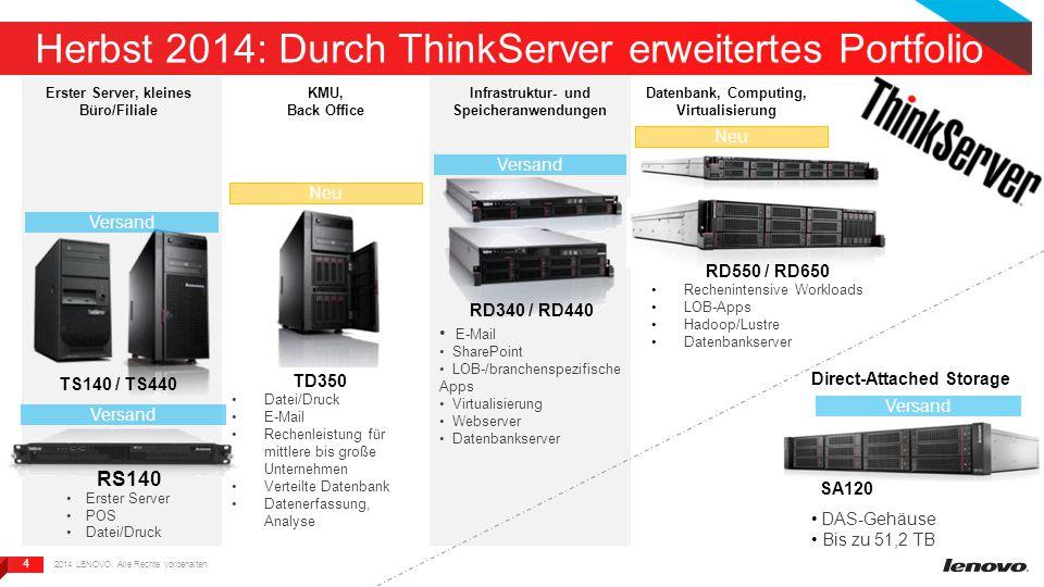 4 4 Herbst 2014: Durch ThinkServer erweitertes Portfolio RD340 / RD440 TS140 / TS440 SA120 Neu Versand Neu Erster Server, kleines Büro/Filiale KMU, Ba