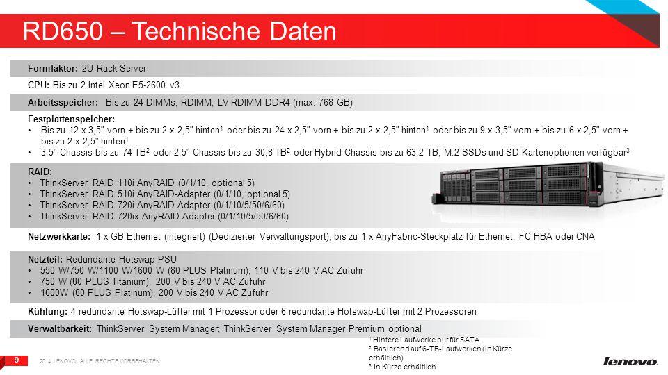 9 9 RD650 – Technische Daten 2014 LENOVO. ALLE RECHTE VORBEHALTEN.