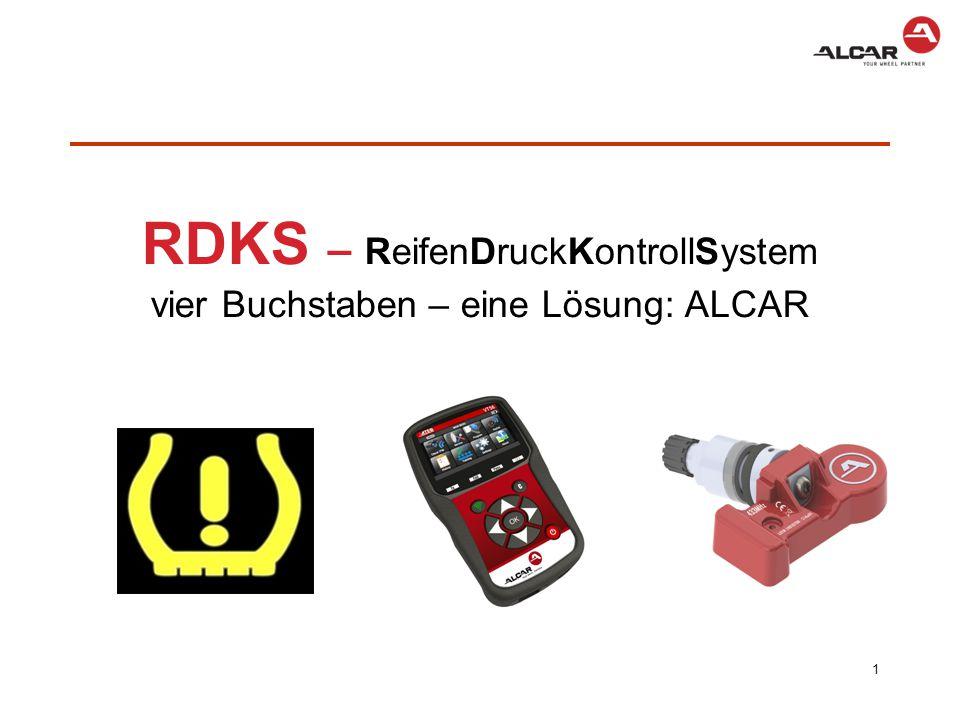 ALCAR + RDKS  Lösung für den Handel um das Rädergeschäft zu sichern  Rad, Sensor, Werkzeug, Programmiertool und Anlerninfos aus einer Hand  ALCAR kann Sensoren auf ALCAR Stahl- und Leichtmetallrädern prüfen und freigeben  Zuordnung aller Komponenten wie, Rad, Verschraubung, Reifen und Sensor in einem Portal, dem Alcar Webshop  Lieferung im Komplettpaket aus einer Hand von einem Ansprechpartner  Wie sieht das in der Praxis aus.