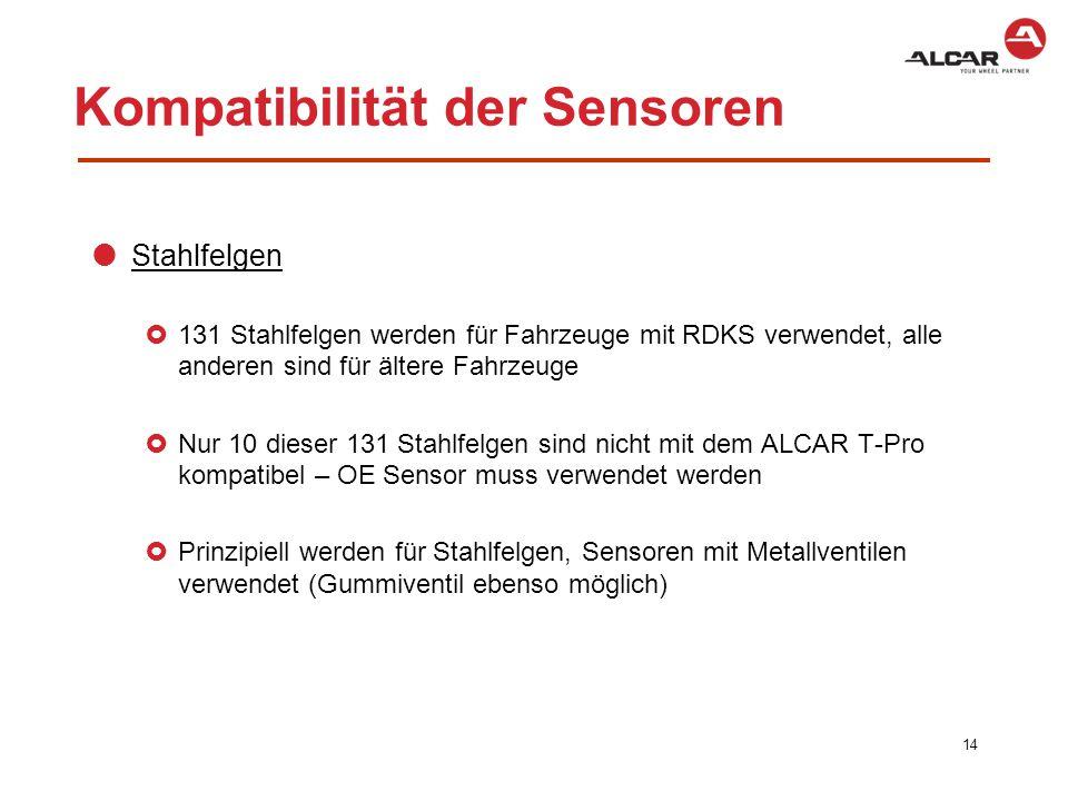  Leichtmetallräder  Der ALCAR T-Pro kann für alle Räder im Produktsortiment verwendet werden  Für Leichtmetallräder werden prinzipiell Sensoren mit Metallventilen verwendet  VDO-REDI: alle Sensoren sind an die Rückseite der Reifenlauffläche geklebt  OE/Mitbewerber Sensoren: nicht alle sind mit unseren Leichtmetallrädern kompatibel 15 Kompatibilität der Sensoren