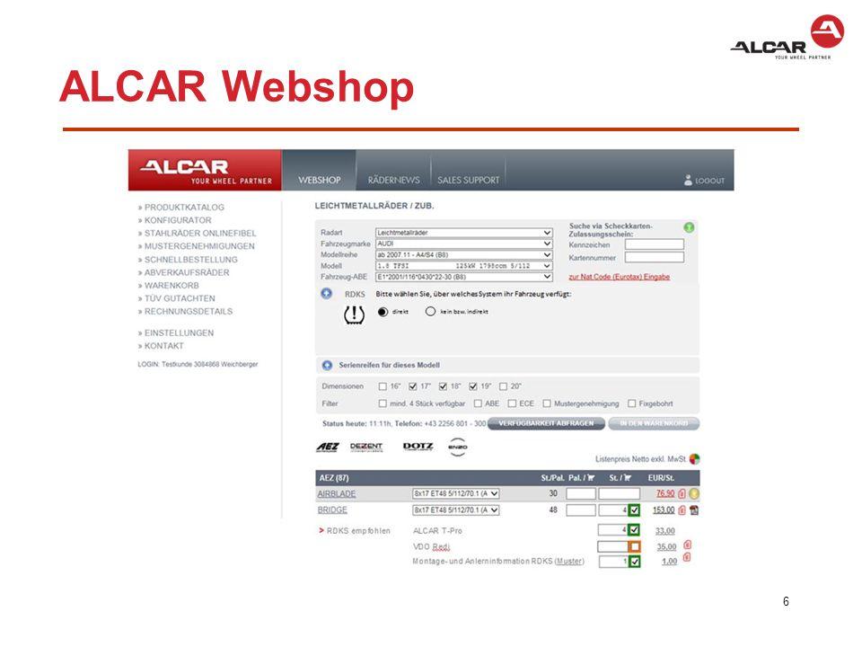 Die ALCAR – RKDS Lösung  Korrekte Zuordnung von Sensoren zu Alcar Stahl- und Leichtmetallrädern  Programmierbare Sensoren – ALCAR T-Pro (vormontiert)  1:1 Alcar Single Senoren (vormontiert)  Ausführliche Infos und Zuordnungen im ALCAR Webshop  Dokumentation über OE Sensoren und andere Sensoren am Markt  Diagnosetool – ATEQ VT56 (Auslesen, Programmieren, Anlernen)  Service Kits für Wartung der Ventile beim Reifenwechsel  Service Hotline 7