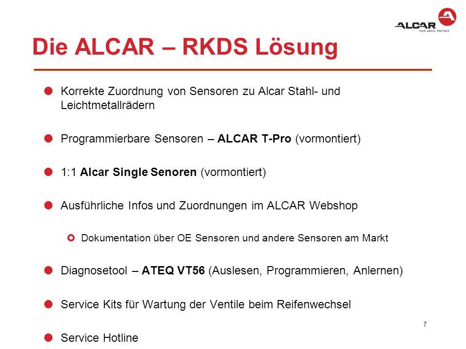 """ALCAR """"Komplett-Paket 8 Tool Kit Service Kit Alcar VT 56 Alcar T-Pro Sensor Alcar Webshop"""
