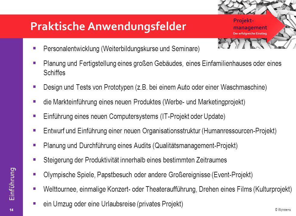 © Wytrzens Einführung Praktische Anwendungsfelder  Personalentwicklung (Weiterbildungskurse und Seminare)  Planung und Fertigstellung eines großen G