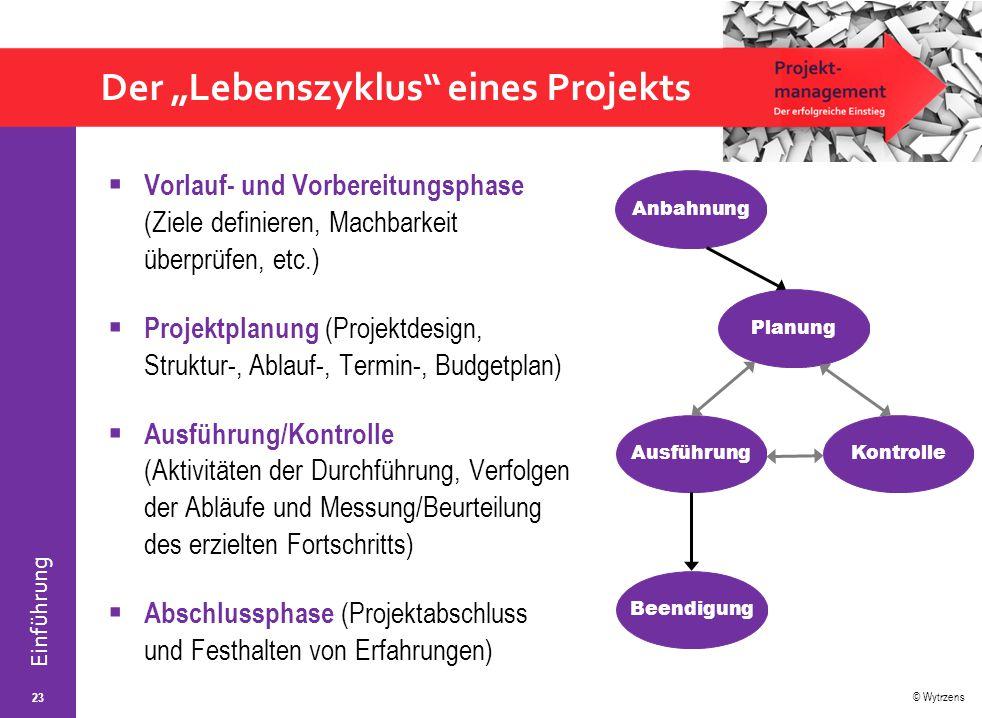 """© Wytrzens Einführung Der """"Lebenszyklus"""" eines Projekts 23  Vorlauf- und Vorbereitungsphase (Ziele definieren, Machbarkeit überprüfen, etc.)  Projek"""