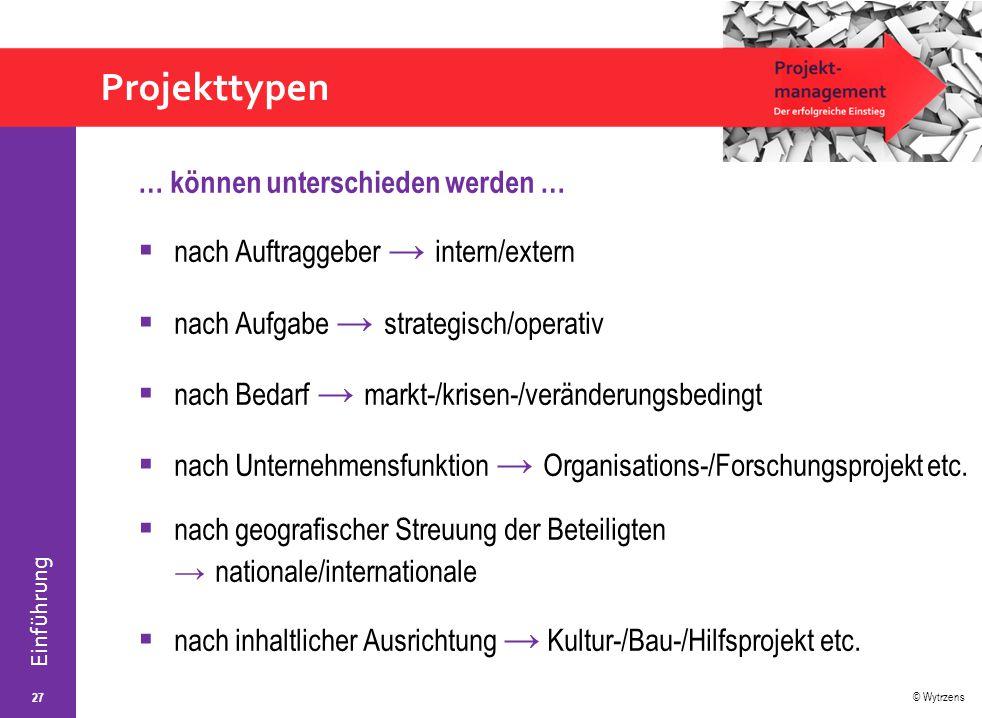 © Wytrzens Einführung Projekttypen … können unterschieden werden …  nach Auftraggeber → intern/extern  nach Aufgabe → strategisch/operativ  nach Be