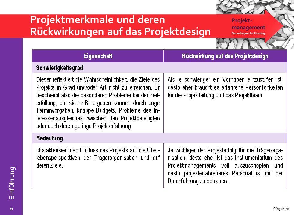 © Wytrzens Einführung Projektmerkmale und deren Rückwirkungen auf das Projektdesign 31