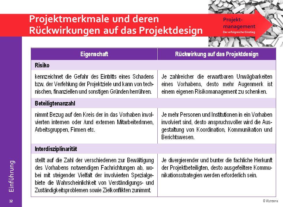 © Wytrzens Einführung Projektmerkmale und deren Rückwirkungen auf das Projektdesign 32