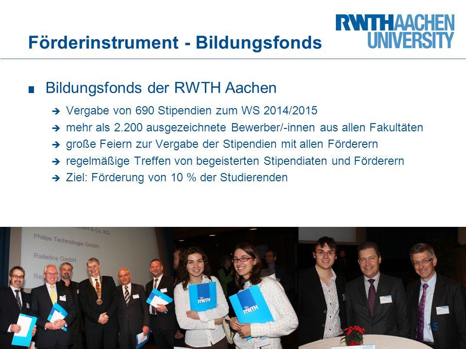 Bildungsfonds der RWTH Aachen  Vergabe von 690 Stipendien zum WS 2014/2015  mehr als 2.200 ausgezeichnete Bewerber/-innen aus allen Fakultäten  gro