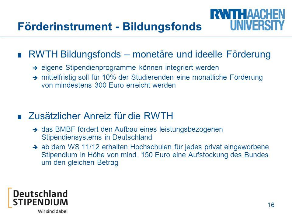 Förderinstrument - Bildungsfonds RWTH Bildungsfonds – monetäre und ideelle Förderung  eigene Stipendienprogramme können integriert werden  mittelfri