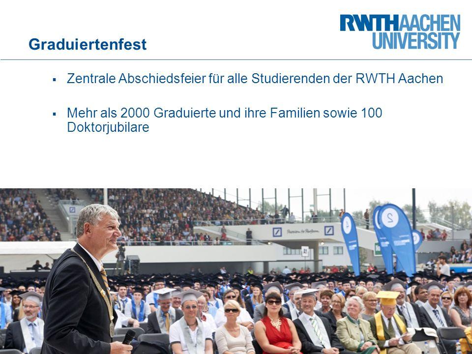 Graduiertenfest  Zentrale Abschiedsfeier für alle Studierenden der RWTH Aachen  Mehr als 2000 Graduierte und ihre Familien sowie 100 Doktorjubilare