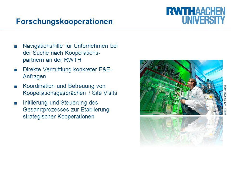 25 Navigationshilfe für Unternehmen bei der Suche nach Kooperations- partnern an der RWTH Direkte Vermittlung konkreter F&E- Anfragen Koordination und