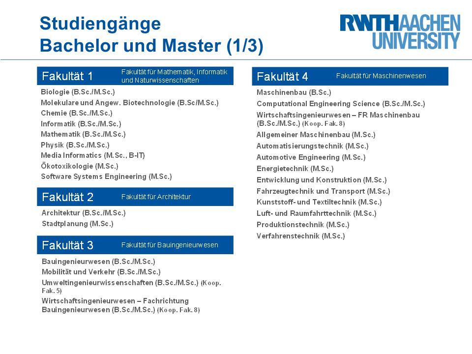 Studiengänge Bachelor und Master (1/3)