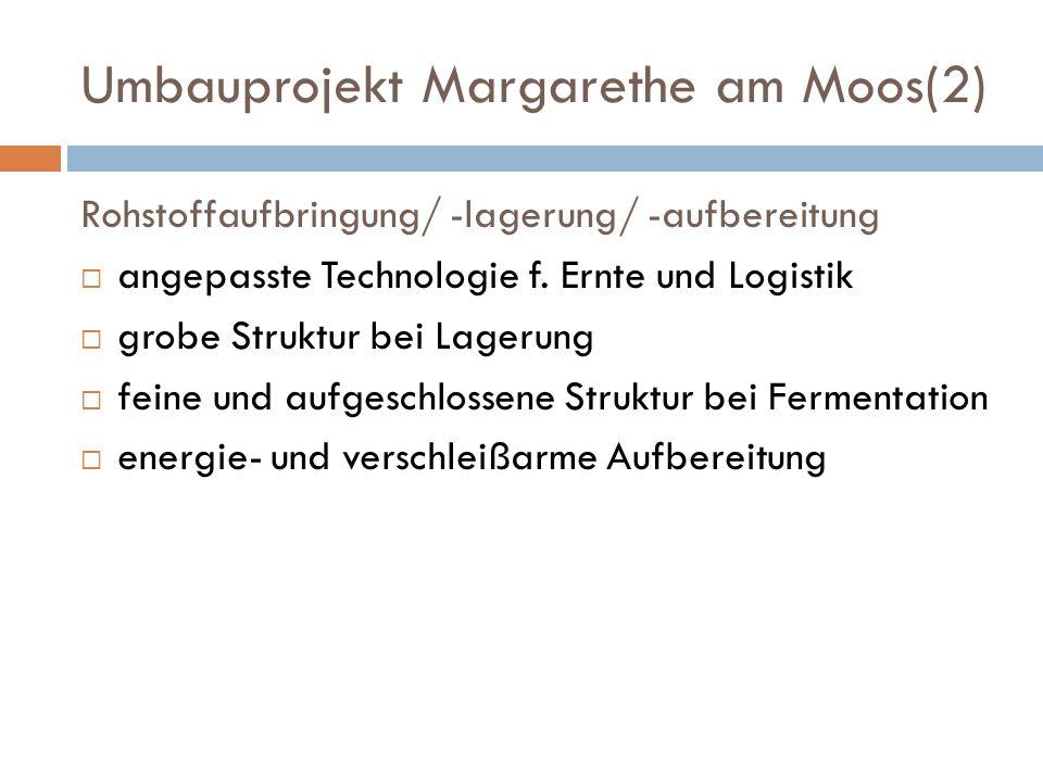 Umbauprojekt Margarethe am Moos(2) Rohstoffaufbringung/ -lagerung/ -aufbereitung  angepasste Technologie f. Ernte und Logistik  grobe Struktur bei L