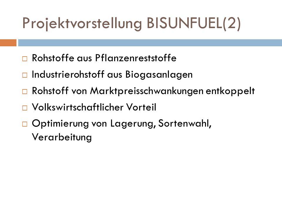 Projektvorstellung BISUNFUEL(2)  Rohstoffe aus Pflanzenreststoffe  Industrierohstoff aus Biogasanlagen  Rohstoff von Marktpreisschwankungen entkoppelt  Volkswirtschaftlicher Vorteil  Optimierung von Lagerung, Sortenwahl, Verarbeitung