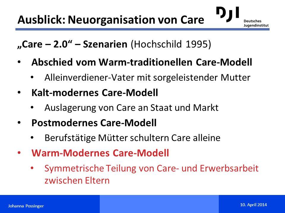 """Johanna Possinger 10. April 2014 """"Care – 2.0"""" – Szenarien (Hochschild 1995) Abschied vom Warm-traditionellen Care-Modell Alleinverdiener-Vater mit sor"""