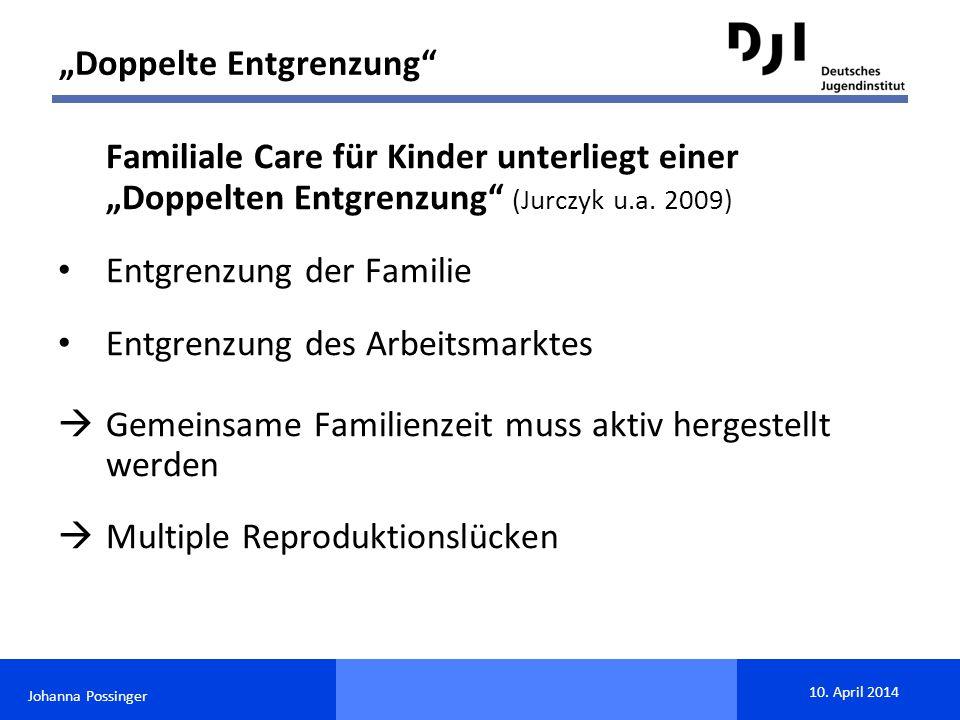 """Johanna Possinger 10. April 2014 Familiale Care für Kinder unterliegt einer """"Doppelten Entgrenzung"""" (Jurczyk u.a. 2009) Entgrenzung der Familie Entgre"""