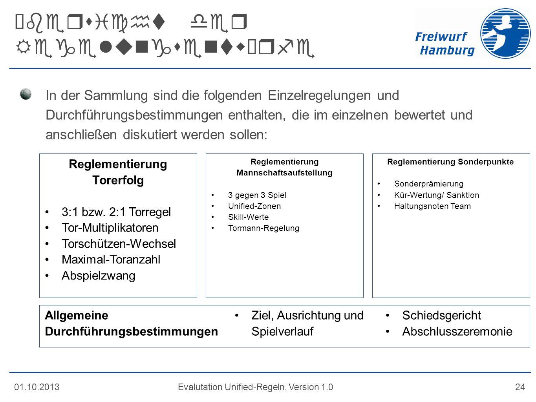 Übersicht der Regelungsentwürfe 01.10.2013Evalutation Unified-Regeln, Version 1.024 In der Sammlung sind die folgenden Einzelregelungen und Durchführu