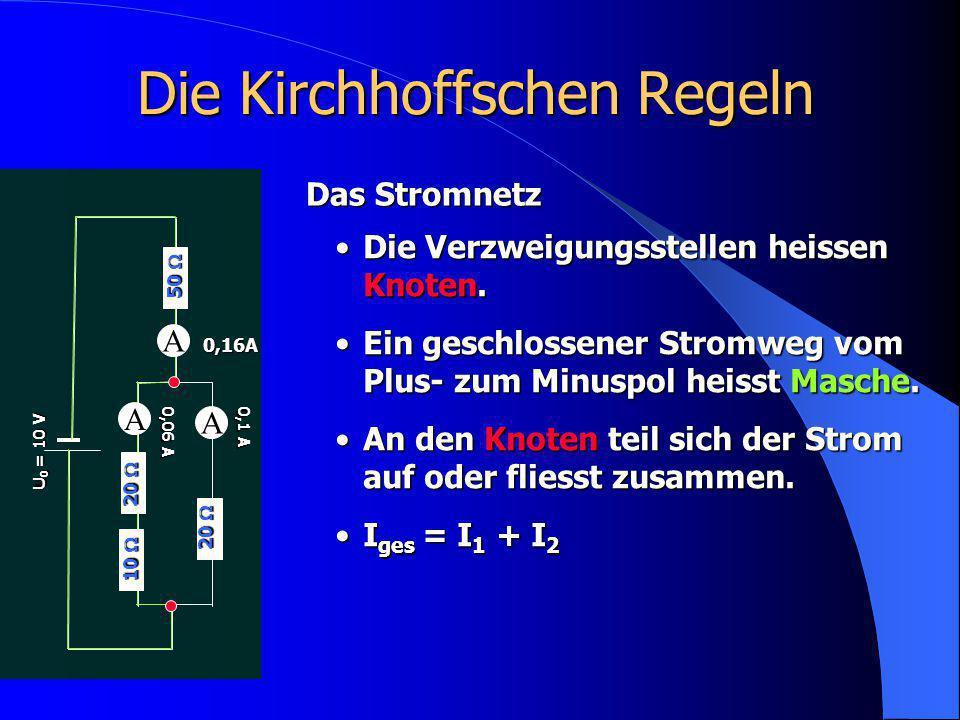 Die Kirchhoffschen Regeln A 20  U 0 = 10 V Das Stromnetz Die Verzweigungsstellen heissen Knoten.Die Verzweigungsstellen heissen Knoten. Ein geschloss