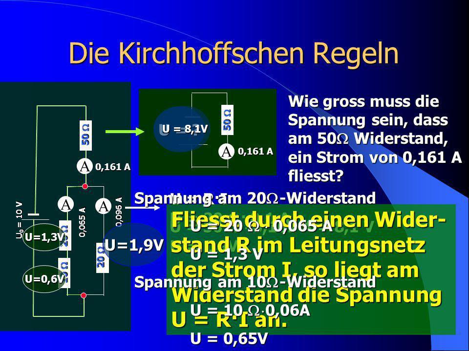 Die Kirchhoffschen Regeln A 20  U 0 = 10 V A 20  10  A 50  0,161 A 0,096 A 0,065 A A 50  0,161 A U = ? Wie gross muss die Spannung sein, dass am