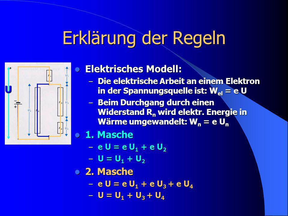 Erklärung der Regeln Elektrisches Modell: Elektrisches Modell: – Die elektrische Arbeit an einem Elektron in der Spannungsquelle ist: W el = e U – Bei