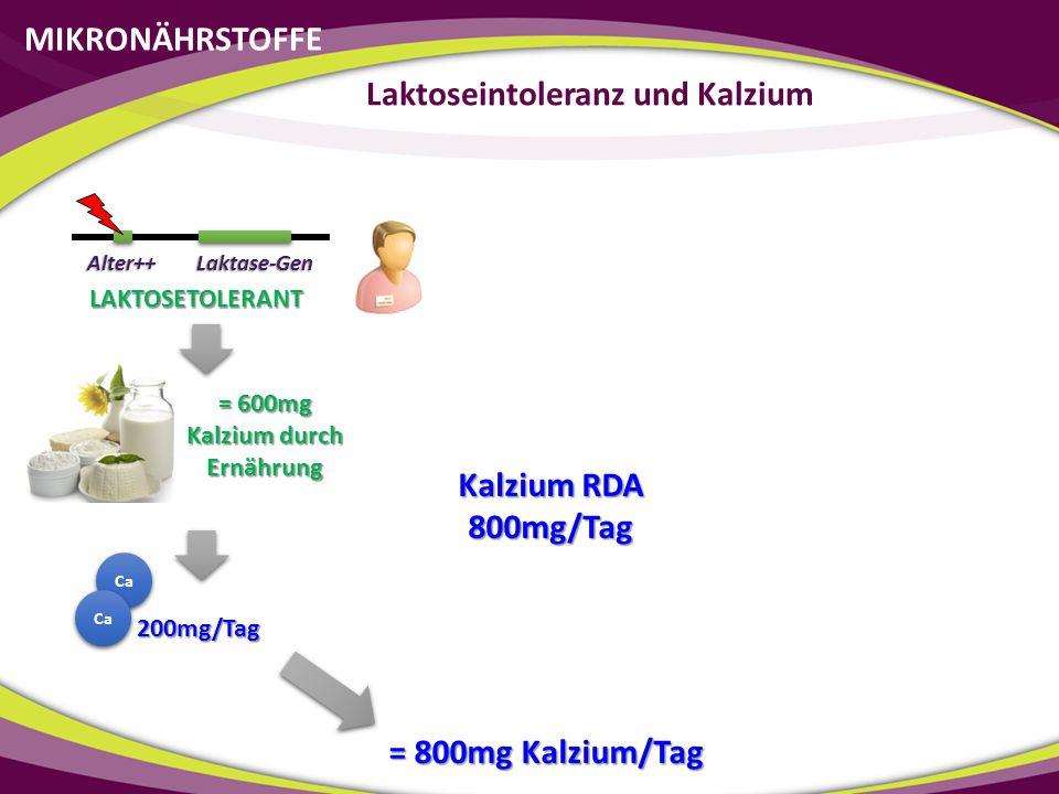 Kalzium RDA 800mg/Tag Ca 200mg/Tag = 800mg Kalzium/Tag MIKRONÄHRSTOFFE Laktoseintoleranz und Kalzium Laktase-GenAlter++ LAKTOSETOLERANT = 600mg Kalziu