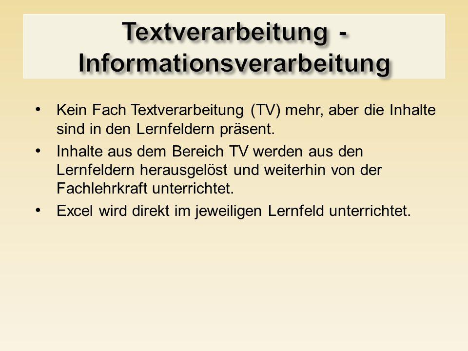 Kein Fach Textverarbeitung (TV) mehr, aber die Inhalte sind in den Lernfeldern präsent. Inhalte aus dem Bereich TV werden aus den Lernfeldern herausge