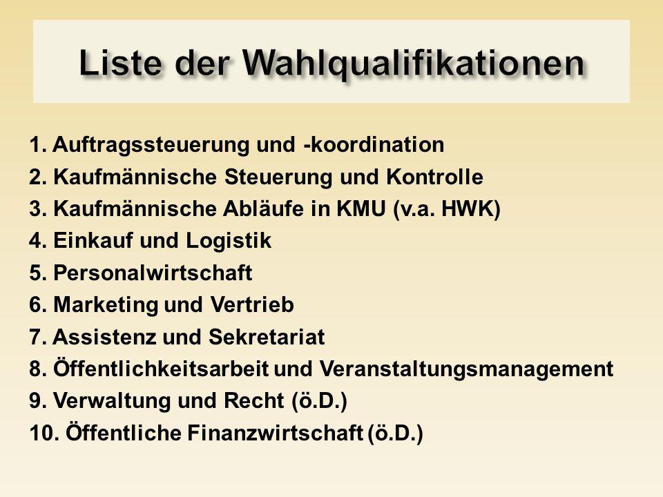 1. Auftragssteuerung und -koordination 2. Kaufmännische Steuerung und Kontrolle 3. Kaufmännische Abläufe in KMU (v.a. HWK) 4. Einkauf und Logistik 5.