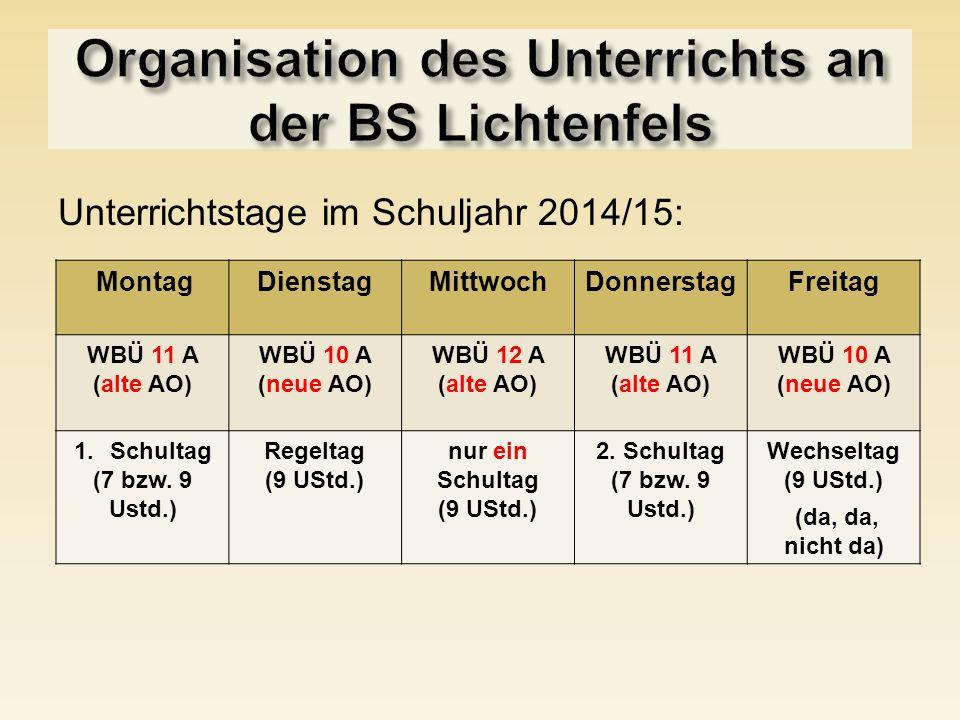 Unterrichtstage im Schuljahr 2014/15: MontagDienstagMittwochDonnerstagFreitag WBÜ 11 A (alte AO) WBÜ 10 A (neue AO) WBÜ 12 A (alte AO) WBÜ 11 A (alte