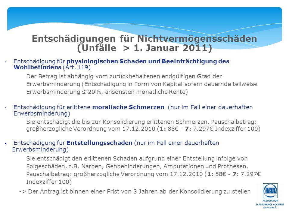 Entschädigungen für Nichtvermögensschäden (Unfälle > 1. Januar 2011) Entschädigung für physiologischen Schaden und Beeinträchtigung des Wohlbefindens