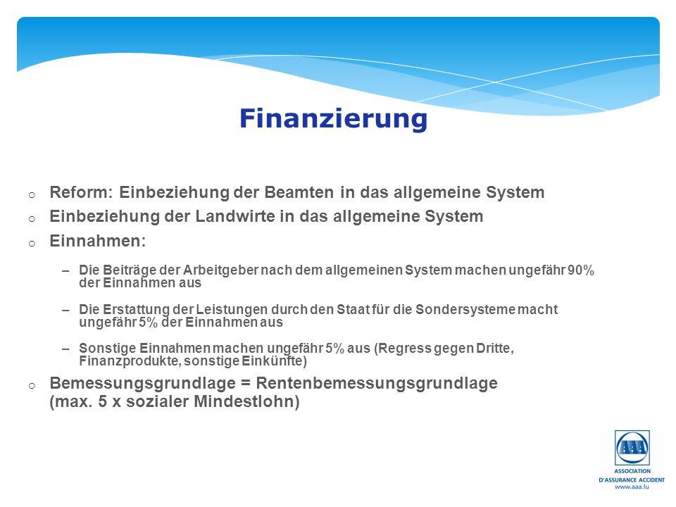 Seite: 38 Finanzierung o Reform: Einbeziehung der Beamten in das allgemeine System o Einbeziehung der Landwirte in das allgemeine System o Einnahmen:
